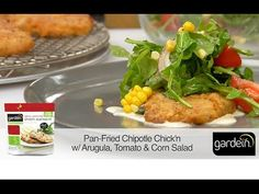Pan-Fried Chipotle Chick'n with Arugula, Tomato, and Corn Salad with @teamrouxbe #gardein