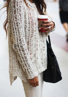 Relaxed knit sweaters.