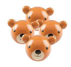 Teddy Bear Beach Balls (3). These teddy bears are ready for your next birthday celebration or beach party! Add these adorable beach balls to your party table or use them as party gifts at a teddy bear-themed birthday party! Inflated 25.4 cm Price is per (3) beach balls