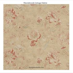 Thornbrook Cottage Fabric country French, English country, yellow, persimmon, beige, floral cotton print, linen print. drapery fabric, bedding fabric.