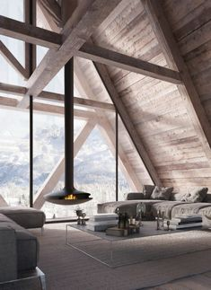 Modern fireplace, A formed roof, wooden panelwork
