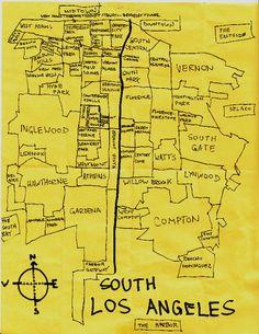 Ink map of South Los Angeles neighborhoods