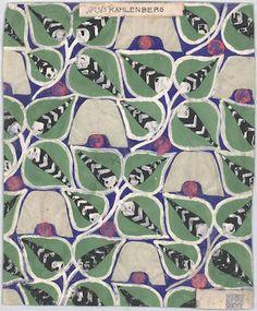 """¤ Wiener Werkstatte. Pattern called """"Kahlenberg"""". Creator : Alber, Martha..Austria Datum : ca. von 1910 bis 1911"""