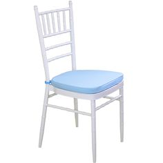White Tiffany Chair with Blue Cushion