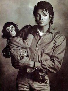 Michael Jackson and his chimp Bubbles.