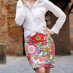 Jupe crayon tissu Flower Power - Perles & Co