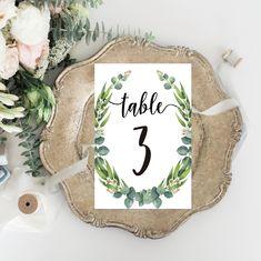 Printable Wedding Table Numbers - Personalized Watercolor Eucalyptus Wedding Boho Elegant Wedding Set - Calligraphy Wedding Stationery by OnionSisterCreative on Etsy