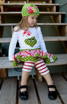 i cant decide what i like more! the leggings, the skirt, the shirt or bow on the hat!!
