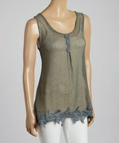 This Aqua Mesh & Lace Silk-Blend Tank by Pretty Angel is perfect! #zulilyfinds