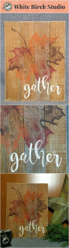 "Fall Decor, Fall Pallet Art, Hand painted fall leaf, gather, pallet word fall sign, upcycled, Wall art, Distressed  Original Acrylic painting on reclaimed fencing boards. This unique piece is 18"" tall by 13.5 wide  This piece is a perfect Fall touch to your porch or kitchen counter by a mum plant."