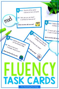 Reading fluency activities are meant to be fun! Students can use these task cards to practice expressive reading to match how the character is feeling. They will have so much fun practicing reading with expression that they won't realize they're improving their reading comprehension at the same time! The corresponding printable emotions charts can be used as an anchor chart during small groups Reading Fluency Activities, Teaching Reading Strategies, Fluency Practice, Reading Resources, Reading Comprehension, Teacher Resources, Third Grade Reading, Second Grade, Emotion Words