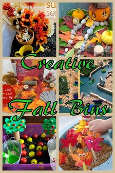 30 + Creative Fall Sensory Bins. Sensory play for toddlers and preschoolers.Fine motor skills activities, animals in fall, playing with pumpkins and flowers, creating music craft, fun with stickers.