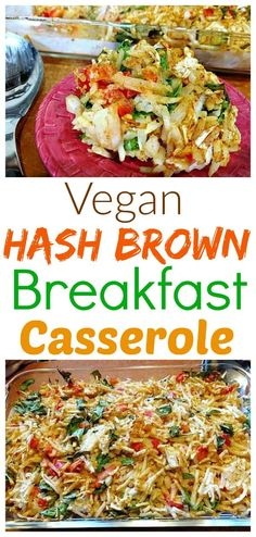 This oil and dairy-free version of the traditional American hashbrown casserole recipe came out delicious and heart-healthy. With potatoes, onions, red bell peppers, Creamy Vegan Cheese Sauce, and smo Vegan Breakfast Casserole, Vegan Casserole, Hashbrown Breakfast Casserole, Hash Brown Casserole, Vegetarian Breakfast, Casserole Recipes, Breakfast Recipes, Ham Breakfast, Mexican Breakfast