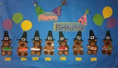 November Birthdays Happy Thanksgiving Bulletin Board
