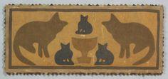 Cotton and Burlap Folk Art Textile Panel