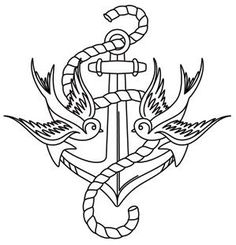 Thread Tattoos - Anchor and Swallows_image