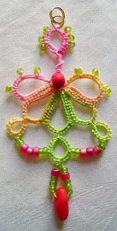 "Tatted pendant in ""Rhubarb Pie"" by yarnplayer, via Flickr"