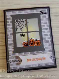 Fun Halloween card made with Hearth and Home Thinlits, Spooky Fun stamp set, and Halloween Night Designer Series Paper from Stampin' Up! Homemade Halloween, Halloween Fun, Halloween Activities, Fall Cards, Holiday Cards, Tarjetas Diy, Window Cards, Making Greeting Cards, Thanksgiving Cards
