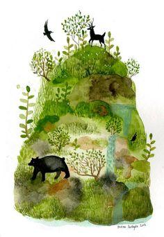 Diana Sudyka, nature, deer, bear, hill