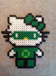 Green Lantern Hello Kitty perler beads by Jennifer Harrison