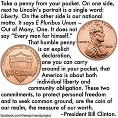 Bill CLinton on the Liberty & E Pluribus Unum of the penny.