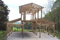Another view of the timber frame barn in WNC