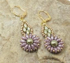 SUPERDUO FLOWER DANGLE Earrings-Opaque Amethyst Luster-Luster Opaque Green-Czech Glass Pearl-Miyuki Seed Beads-Leverback Earwires by CinfulBeadCreations on Etsy