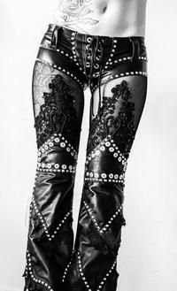 biker, rivets, black,...wish  had the body to pull this off