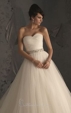 Mori Lee 5172 ($749) Ruched Strapless Sweetheart Net Gown
