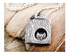$118.00 Owl necklace silver owl in a tree handmade owl by lulubugjewelry