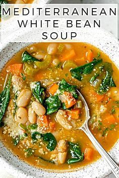 Try this vegan Mediterranean White Bean Soup for lunch of dinner. It's a quick gluten free soup recTry this vegan Mediterranean White Bean Soup for lunch of dinner. It's a quick gluten free soup recipe that's filled with vegetables and plant-based protein Best Soup Recipes, Healthy Soup Recipes, Whole Food Recipes, Vegetarian Recipes, Cooking Recipes, Protein Recipes, Vegan Bean Recipes, Beans Recipes, Simple Soup Recipes