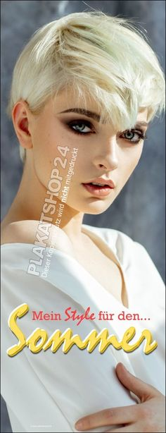 Blondes Model, Mein Style, Models, Products, Promotional Banners, Purchase Order, Hairdresser, Short Hair Up, Sticker