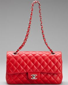 Chanel Red Quilted Lambskin Leather Double Flap Medium Classic Bag