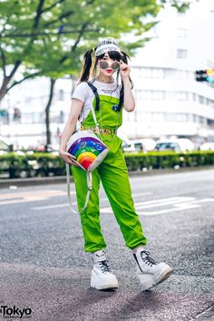 Photo by Tokyo Fashion Japanese idol and Harajuku street snap model Misuru ( on the street in Harajuku wearing a Rose Apple Studio crop top under a… Japan Street Fashion, Seoul Fashion, Korean Street Fashion, Tokyo Fashion, Harajuku Fashion, Kawaii Fashion, Japanese Fashion Street Casual, Harajuku Makeup, Asian Street Style
