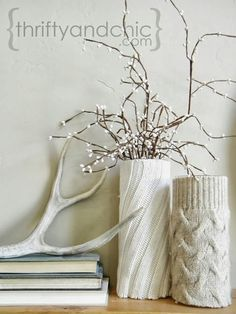 sweater vase sleeves DIY - fall centerpiece