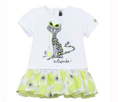 Catimini - Girls White Jersey Cat Print Dress