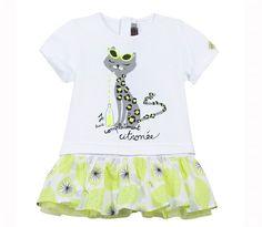 Catimini - Girls White Jersey Cat Print Dress