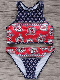 High Neck Print Bikini Set BLUE AND RED: Bikinis   ZAFUL