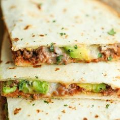 Cheesy Avocado Quesadillas Recipe with olive oil, ground beef, Old El ...