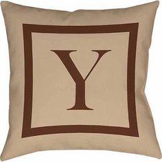 Thumbprintz Classic Block Monogram Decorative Pillow, Caramel, Brown