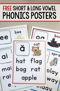 Print these free phonics posters to use as mini anchor charts for young writers in kindergarten, first, and second grade! Great as a reference during reading and writing workshop! teach child to read Phonics Chart, Phonics Flashcards, Phonics Books, Phonics Lessons, Phonics Reading, Phonics Activities, Free Phonics Worksheets, Guided Reading, Reading Comprehension