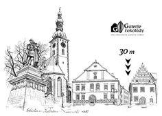 Galerie čokolády je cca 30 m ze Žižkova náměstí Pen Illustration, Urban Sketching, Notre Dame, Urban Sketchers