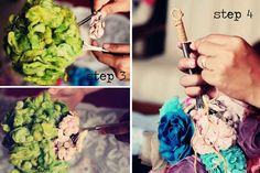 SUPER awesome DIY fabric flower bouquet tutorial using a WISK for the stem. GAH i love this.