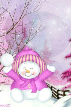 Снеовичок подбрасывает снежку - анимация на телефон №1346551