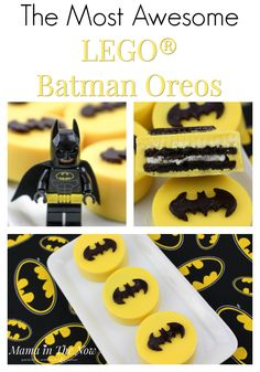LEGO Batman oreos, the perfect snack at a Batman or LEGO birthday party. Delicious oreos and Batman decorations. Motherhood win.