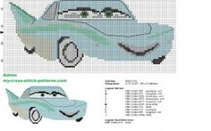 Flo Disney Cars character cross stitch pattern