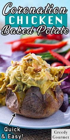 There's something very old-school British about a good old jacket potato. Simple, straightforward, convenient, no fuss… yet it delivers every time! And this recipe is quick, convenient and so easy to whip together. It delivers plenty of value for money and is nutritious to boot. Plus Coronation Chicken is the classic British recipe loved by all. Have you made Coronation Chicken in a jacket potato before? |Potato|Coronation|Chicken| #dinner #recipes #British