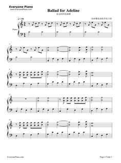 Ballade pour Adeline-Ballad for Adeline Stave Preview 1