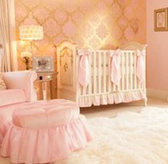 Glamorous Pink and Gold Nursery – Aspen Pink Empire Glider  -- perfect room for a princess!