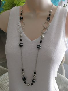 Long Black and Silver Beaded Necklace Chunky by RalstonOriginals Long Necklaces, Long Black, Beaded Necklace, Buy And Sell, Chain, Silver, Handmade, Stuff To Buy, Etsy